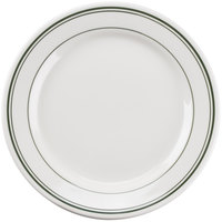 Tuxton TGB-022 Green Bay 8 3/8 inch Eggshell Wide Rim Rolled Edge China Plate with Green Bands - 36/Case