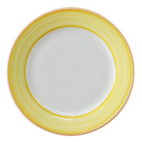 Corona by GET Enterprises PA1600901424 Calypso 6 1/2 inch Bright White Porcelain Rolled Edge Plate with Yellow and Coral Rim   - 24/Case