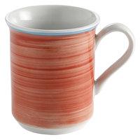 Corona by GET Enterprises PA1602606124 Calypso 11 oz. Coral Porcelain Mug with Blue Rim - 24/Case