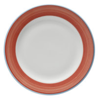 Corona by GET Enterprises PA1602901524 Calypso 7 1/4 inch Bright White Porcelain Rolled Edge Plate with Coral and Blue Rim   - 24/Case