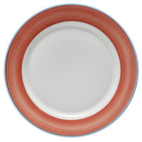 Corona by GET Enterprises PA1602902724 Calypso 10 5/8 inch Bright White Porcelain Rolled Edge Plate with Coral and Blue Rim   - 24/Case