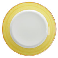 Corona by GET Enterprises PA1600902524 Calypso 10 inch Bright White Porcelain Rolled Edge Plate with Yellow and Coral Rim   - 24/Case