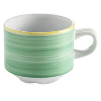 Corona by GET Enterprises PA1603904324 Calypso 8.1 oz. Green Porcelain Stackable Tea Cup - 24/Case