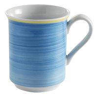Corona by GET Enterprises PA1601606124 Calypso 11 oz. Blue Porcelain Mug with Yellow Rim - 24/Case