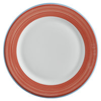 Corona by GET Enterprises PA1602902524 Calypso 10 inch Bright White Porcelain Rolled Edge Plate with Coral and Blue Rim   - 24/Case