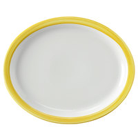 Corona by GET Enterprises PA1600807812 Calypso 13 inch x 11 inch Bright White Porcelain Oval Platter with Narrow Yellow and Coral Rim   - 12/Case