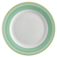 Corona by GET Enterprises PA1603902024 Calypso 8 inch Bright White Porcelain Rolled Edge Plate with Green and Yellow Rim   - 24/Case