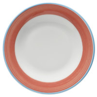 Corona by GET Enterprises PA1602901424 Calypso 6 1/2 inch Bright White Porcelain Rolled Edge Plate with Coral and Blue Rim   - 24/Case