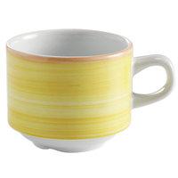 Corona by GET Enterprises PA1600904324 Calypso 8.1 oz. Yellow Porcelain Stackable Tea Cup - 24/Case