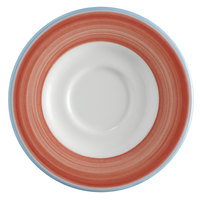 Corona by GET Enterprises PA1602900324 Calypso 6 1/2 inch Bright White Porcelain Rolled Edge Saucer with Coral and Blue Rim   - 24/Case
