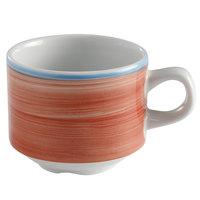 Corona by GET Enterprises PA1602904324 Calypso 8.1 oz. Coral Porcelain Stackable Tea Cup - 24/Case