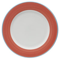 Corona by GET Enterprises PA1602902912 Calypso 12 1/4 inch Bright White Porcelain Rolled Edge Plate with Coral and Blue Rim   - 12/Case