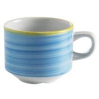Corona by GET Enterprises PA1601904324 Calypso 8.1 oz. Blue Porcelain Stackable Tea Cup - 24/Case