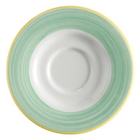 Corona by GET Enterprises PA1603900324 Calypso 6 1/2 inch Bright White Porcelain Rolled Edge Saucer with Green and Yellow Rim   - 24/Case