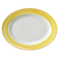 Corona by GET Enterprises PA1600907612 Calypso 10 inch x 7 1/2 inch Bright White Rolled Edge Porcelain Oval Platter with Yellow and Coral Rim   - 12/Case