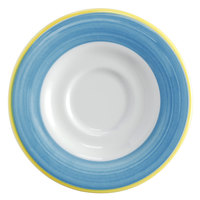 Corona by GET Enterprises PA1601900324 Calypso 6 1/2 inch Bright White Porcelain Rolled Edge Saucer with Blue and Yellow Rim   - 24/Case