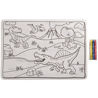 Choice 10 inch x 14 inch Kids Dinosaur Double Sided Interactive Placemat with 3 Pack Triangular Kids' Restaurant Crayons in Cello Wrap - 1000/Case
