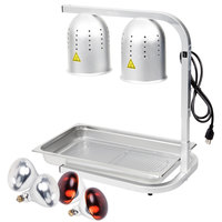 Avantco W62 Silver 2 Bulb Free Standing Heat Lamp / Food Warmer with Red Bulbs, Pan, and Grate - 120V, 500W