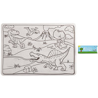 Choice 10 inch x 14 inch Kids Dinosaur Double Sided Interactive Placemat with 4 Pack Kids' Restaurant Crayons - 1000/Case