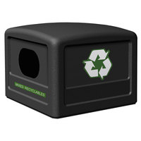 Commercial Zone 746101 42 Gallon Black Recycling Bin Lid with Green Decals