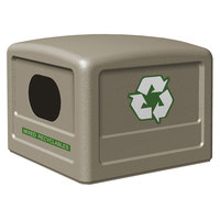 Commercial Zone 746102 42 Gallon Beige Recycling Bin Lid with Green Decals