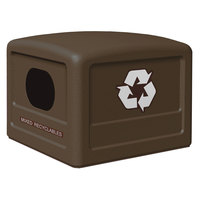 Commercial Zone 746137 42 Gallon Brown Recycling Bin Lid with Brown Decals