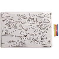 Choice 10 inch x 14 inch Kids Dinosaur Double Sided Interactive Placemat with 3 Pack Kids' Restaurant Crayons in Cello Wrap - 1000/Case