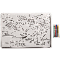 Choice 10 inch x 14 inch Kids Dinosaur Double Sided Interactive Placemat with 4 Pack Kids' Restaurant Crayons in Cello Wrap - 1000/Case