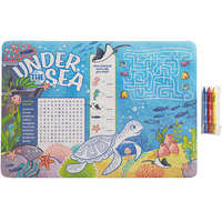 Choice 10 inch x 14 inch Kids Under the Sea Themed Interactive Placemat with 3 Pack Kids' Restaurant Crayons in Cello Wrap - 1000/Case