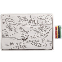 Choice 10 inch x 14 inch Kids Dinosaur Double Sided Interactive Placemat with 4 Pack Triangular Kids' Restaurant Crayons in Cello Wrap - 1000/Case