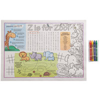 Choice 10 inch x 14 inch Kids Zoo Themed Interactive Placemat with 4 Pack Kids' Restaurant Crayons in Cello Wrap - 1000/Case