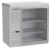 Beverage-Air BB36HC-1-FG-S-27-ALT 36 inch Stainless Steel Food Rated Glass Door Back Bar Refrigerator with Stainless Steel Top and Left Side Compressor