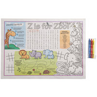 Choice 10 inch x 14 inch Kids Zoo Themed Interactive Placemat with 3 Pack Kids' Restaurant Crayons in Cello Wrap - 1000/Case
