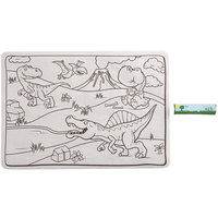 Choice 10 inch x 14 inch Kids Dinosaur Double Sided Interactive Placemat with 3 Pack Triangular Kids' Restaurant Crayons - 1000/Case