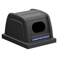 Commercial Zone 727101 ArchTec Parkview 25 Gallon Black Recycling Bin Lid with Decal