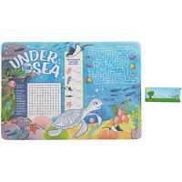 Choice 10 inch x 14 inch Kids Under the Sea Themed Interactive Placemat with 4 Pack Kids' Restaurant Crayons - 1000/Case
