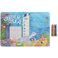 Choice 10 inch x 14 inch Kids Under the Sea Themed Interactive Placemat with 4 Pack Triangular Kids' Restaurant Crayons in Cello Wrap - 1000/Case