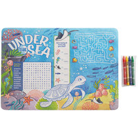 Choice 10 inch x 14 inch Kids Under the Sea Themed Interactive Placemat with 4 Pack Kids' Restaurant Crayons in Cello Wrap - 1000/Case