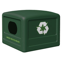 Commercial Zone 746153 42 Gallon Forest Green Recycling Bin Lid with Green Decals