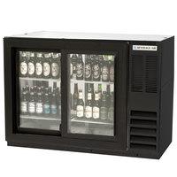 Beverage-Air BB48HC-1-GS-F-PT-B 48 inch Black Food Rated Pass-Through Sliding Glass Door Back Bar Refrigerator