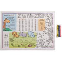 Choice 10 inch x 14 inch Kids Zoo Themed Interactive Placemat with 3 Pack Triangular Kids' Restaurant Crayons in Cello Wrap - 1000/Case