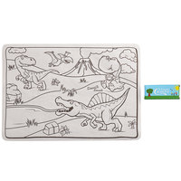 Choice 10 inch x 14 inch Kids Dinosaur Double Sided Interactive Placemat with 4 Pack Triangular Kids' Restaurant Crayons - 1000/Case
