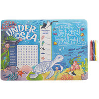 Choice 10 inch x 14 inch Kids Under the Sea Themed Interactive Placemat with 3 Pack Triangular Kids' Restaurant Crayons in Cello Wrap - 1000/Case