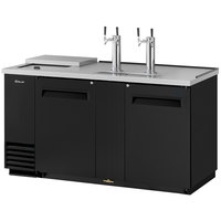 Turbo Air TCB-3SB (2) Double Tap Club Top Kegerator Beer Dispenser - Black, (3) 1/2 Keg Capacity