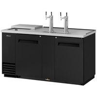 Turbo Air TCB-3SB (2) Double Tap Club Top Kegerator Beer Dispenser - Black, (3) 1/2 Keg Capacity