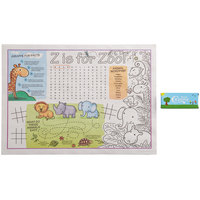 Choice 10 inch x 14 inch Kids Zoo Themed Interactive Placemat with 4 Pack Kids' Restaurant Crayons - 1000/Case