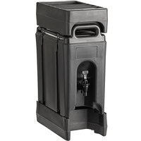 Cambro Camtainer 2.5 Gallon Black Insulated Beverage Dispenser with Black 4-Compartment Condiment Holder and 4 9/16 inch Riser