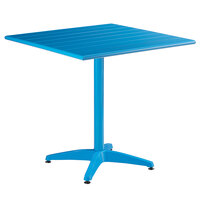 Lancaster Table & Seating 32 inch x 32 inch Blue Powder-Coated Aluminum Dining Height Outdoor Table