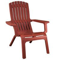 Grosfillex US444748 Westport Barn Red Resin Stackable Outdoor Adirondack Chair