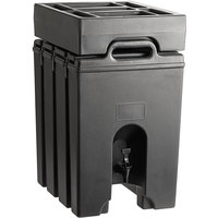 Cambro Camtainer 11.75 Gallon Black Insulated Beverage Dispenser with Black 7-Compartment Condiment Holder